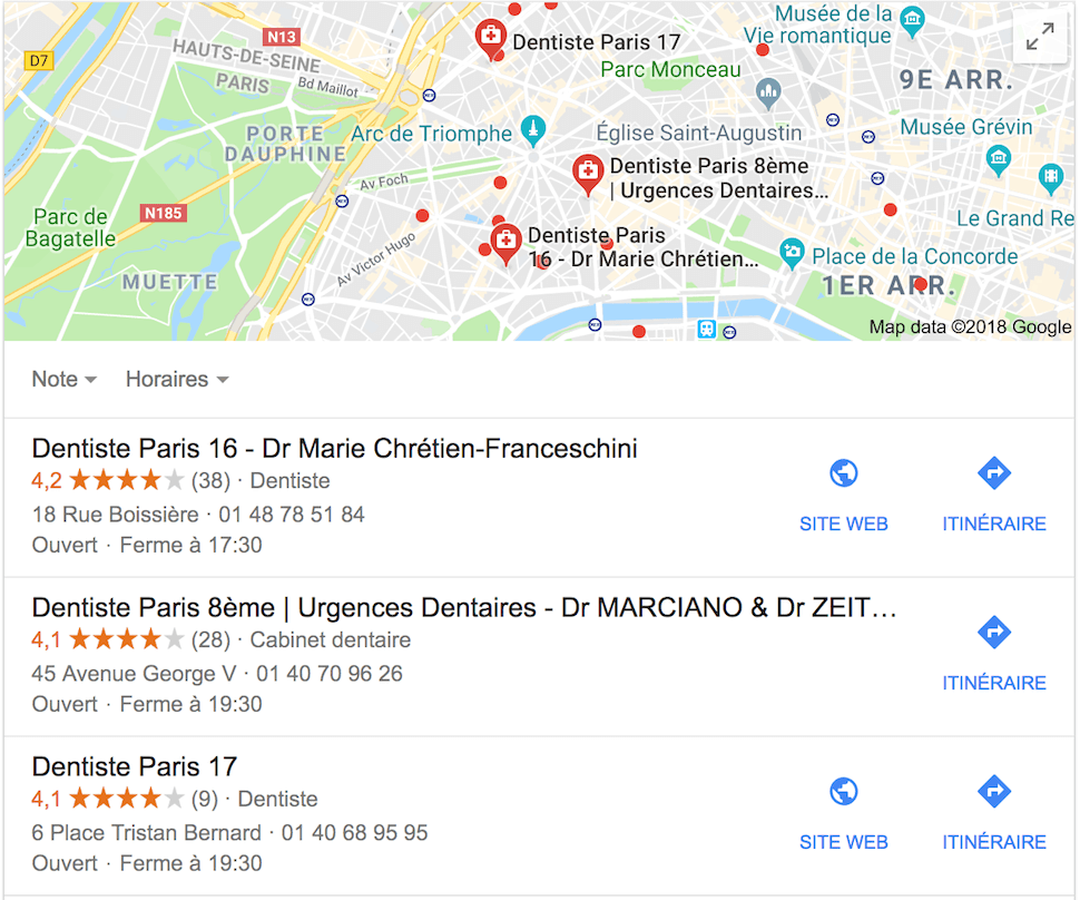 Seo local dentiste paris