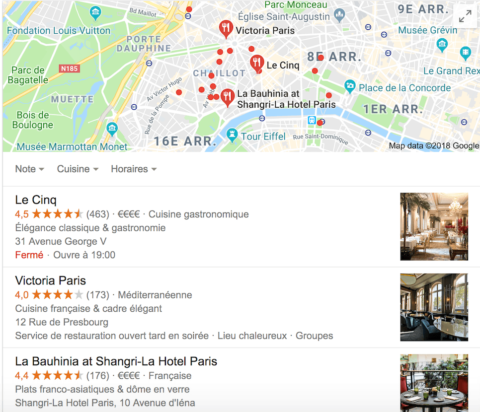 Seo local restaurant paris