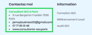 Nom adresse telephone footer